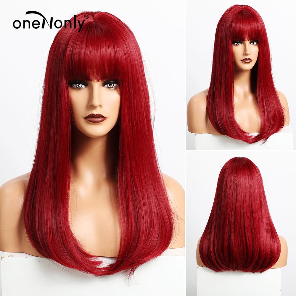 OneNonly-Peluca de cabello sintético para mujer, cabellera artificial liso de longitud media con flequillo, ombré color vino tinto, fiesta de Cosplay, resistente al calor