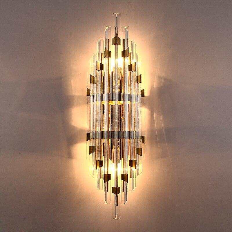 Lampe murale nordique moderne en cristal de luxe pour salon Dininb chambre chevet Villa Loft maquillage lumière or décor applique E14