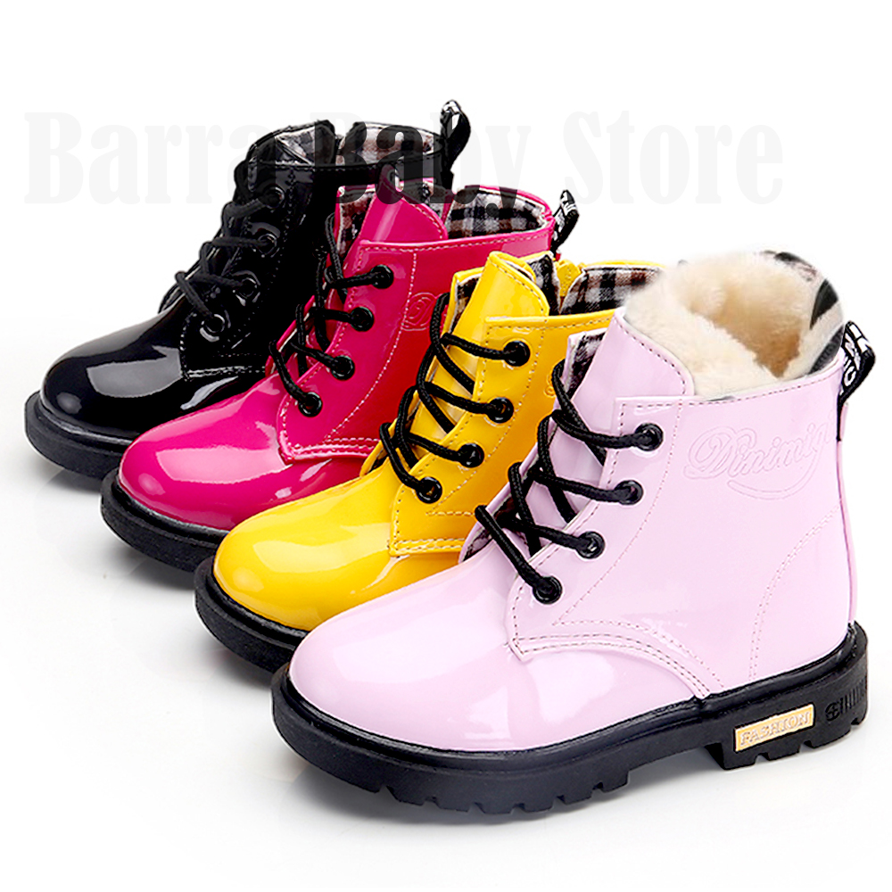News Children Shoes Boots for Children Size 21-37 Martin Boots for Girl PU Leather Waterproof Winter Kids Snow Shoes Girls Boots