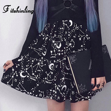 Fitshinling Moon Gothic Print Mesh Skirt Female 2019 Slim Short High Waist Skirts For Women Grunge Black New Fashion Jupe Femme