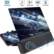 Lupa de tela de celular 3d de 12 polegadas, suporte de lente de aumento com bluetooth e alto falante hd, tela de vídeo alargada, suporte para telefone