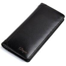New Men's Wallets Genuine Leather Long Purse Man Soft Leathe