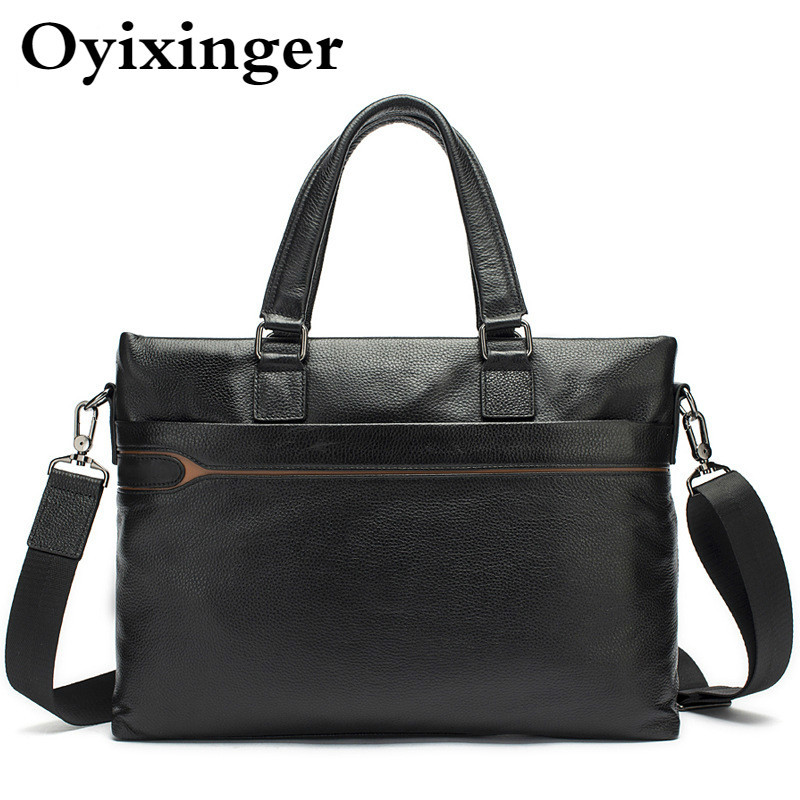 Man Portable Briefcase Business Cowhide Luxury Handbags Male Genuine Leather Messenger Bag Office Bags For Men Bolsos Hombre
