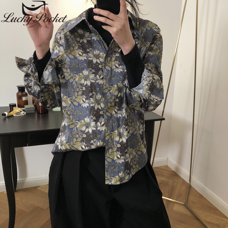 Women Autumn New Fashion Floral Print Loose High Quality Cotton Blouse Female Casual Street Style Shirt Ladies Brand Tops ML721