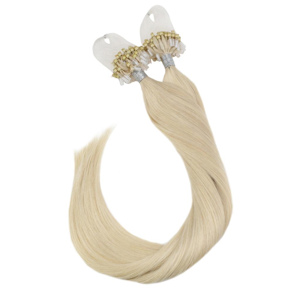 Ugeat Micro Ring Hair Extensions Machine Remy Human Hair 14-24inch Blonde Color #613 Pre-Bonded Hair Extension Soft Hair 50g/50s