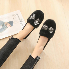 2020 Winter New Fashion Woman Shoes Butterfly-knot Flat Shoes Warmly Casual Shoes