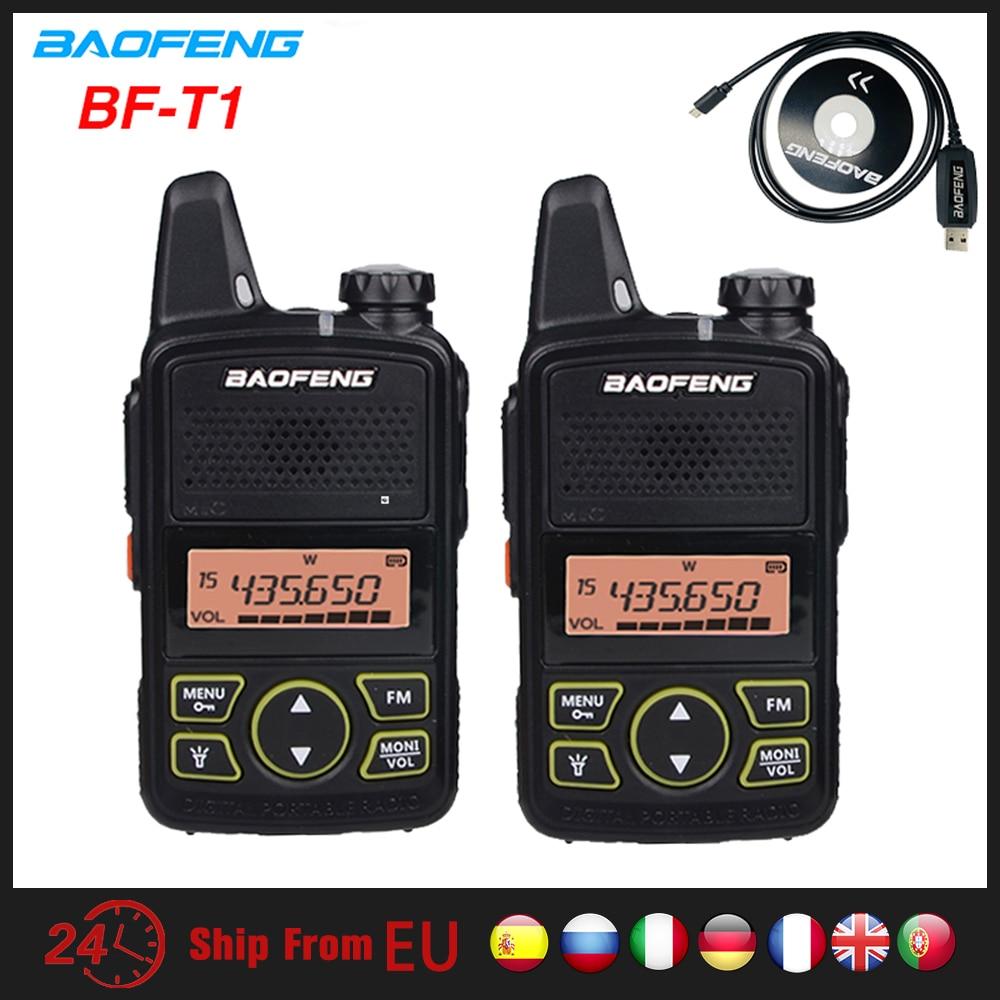 2 шт Baofeng BF-T1 мини иди и болтай Walkie Talkie UHF портативная CB Ham Радио BF T1 Ручной FM трансивер Walkie Talkie двухстороннее радио Детские домофон 5 км bft1 ...