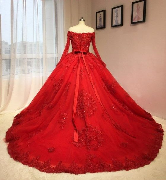 Image 2 - Amazing Wedding Dresses Red Off The Shoulder Lace Appliques Sash Bridal Gowns Saudi Arabic Wedding Vestidos Custom MadeQuinceanera Dresses   -