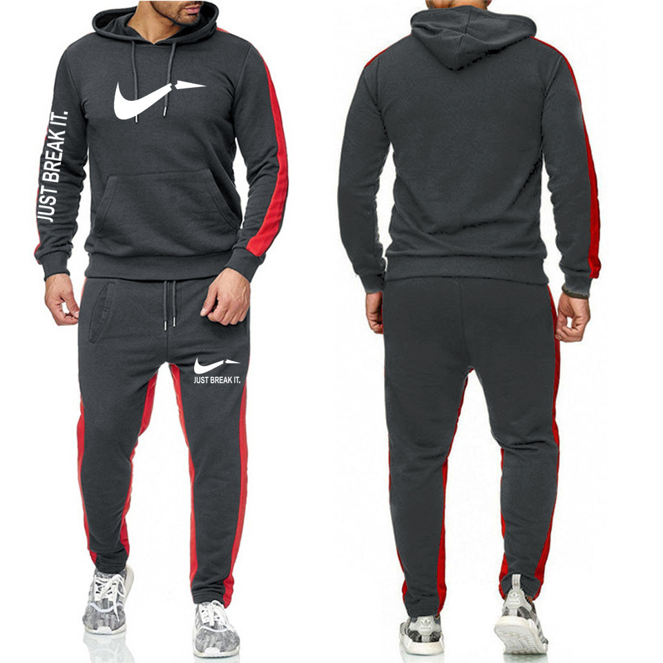 Hoodie Suit Men's Autumn 2019 Casual Autumn Large Size New Style Printed Sports Clothing Two-Piece Set Men Two-Piece Set