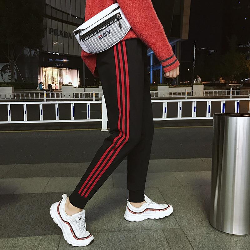 Autumn Athletic Pants Men's Three Carry Pants With Velvet Sub-Men's Korean-style Trend Students Versatile Casual Capri Beam Leg