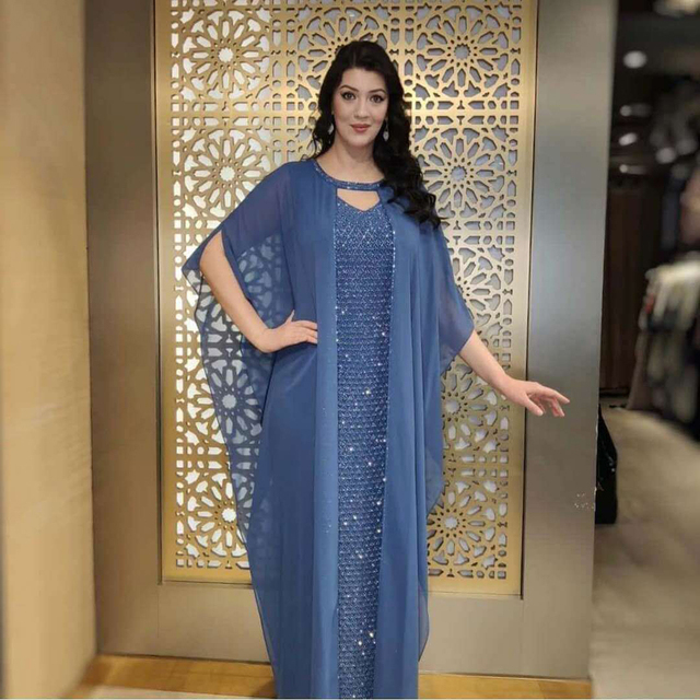 Abaya Boubou Muslim Dress Solid Batwing Sleeve African Dresses for Women Dashiki Chiffon Diamonds Indie Folk Casual and Lining 1