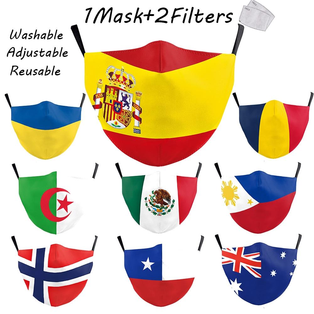 Russia Spain UK Flag Fashion Print Masks Keep Fighting Face Adult Masks Fabric Kids Children Reusable Mask Dustproof Washable