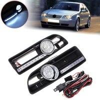 LED Daytime Lights and LED Fog Light Bumper Grille For VW Jetta Bora MK4 1999 2004 1J5853665B 1J5853666B