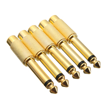 """New Golden Audio Adapter 5pcs 6.35mm 1/4"""" Male Mono Plug To RCA Female Jack Audio Adapter Connector TS For Home KTV Use"""