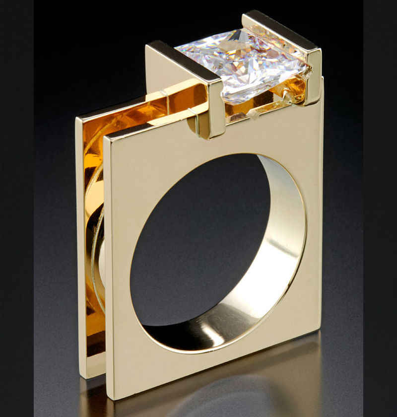สไตล์ที่ไม่ซ้ำกันหญิงคริสตัลสีแดง Zircon แหวนแฟชั่นสีเหลืองทองแหวนแต่งงานแหวนสัญญาหมั้นแหวน