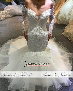 Image 5 - Vestido de novia de sirena sin hombros, mangas largas, nupciales, 2020