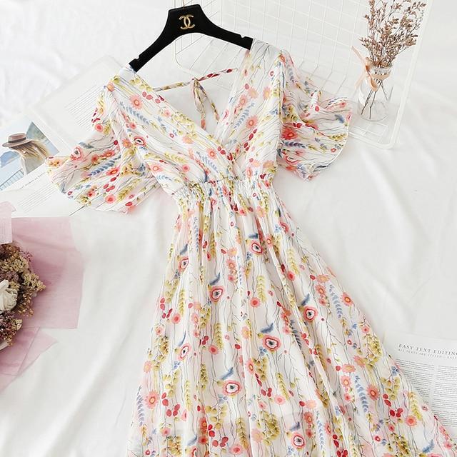 Summer Fairy Dress Women French Style Vintage Retro Chiffon Dress Short sleeve Casual Elegant Floral Print Dress Women 2021 New 6