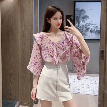 COIGARSAM French Style Chiffon blouse women Summer Cute V-Neck blusas womens tops and blouses Pink Purple 6862