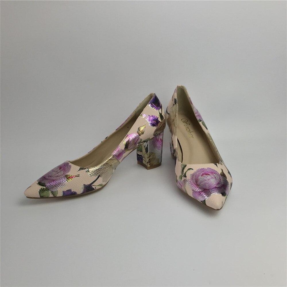 Image 4 - Women Pumps Hot Fashion Purple Flower Pointed Toe Thin High Heels  12CM Heels Pumps Good Quality 36 42 WENZHAN A99 6Womens Pumps   -