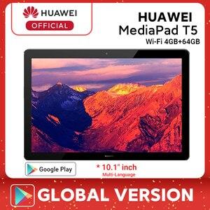 Em estoque versão global huawei mediapad t5 4gb 64gb tablet pc 10.1 polegada octa núcleo duplo alto-falante 5100 mah android 8.0