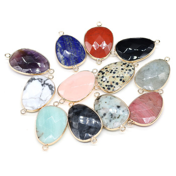 Natural Stone Connectors Irregular section Semiprecious stone Irregular Agate Druzy Crystal Charms for DIY Bracelet Necklace Mak dry flower diy raw stone necklace