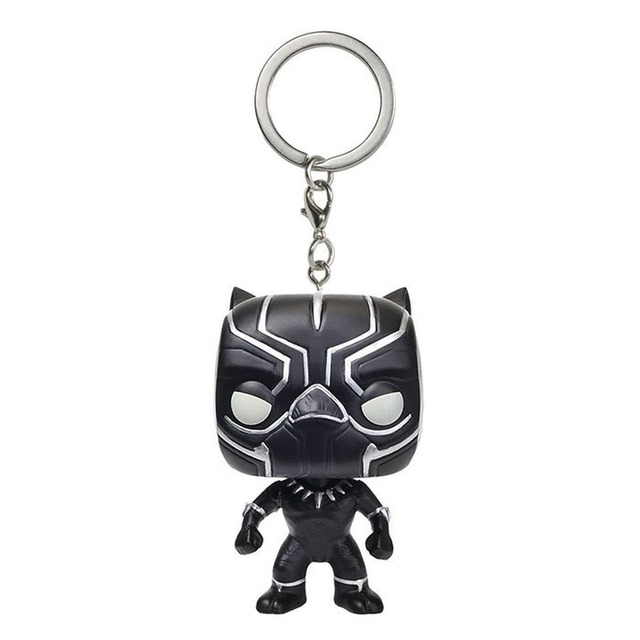 FUNKO POP Superhero Keychain Spider Man Iron Man Black Panther Batman Deadpool Pendant Chain Action Figure Toys for Kids Gifts 6