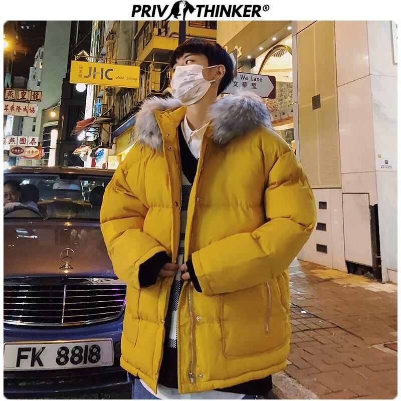 Privathinker 2019 Winter Men Detachable Fur Collar   Parka   Jacket Male Fashion Loose Warm Coat Male Streetwear Thicken Oversize