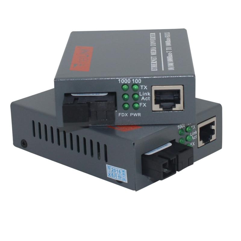 HTB-GS-03 A&B Gigabit Fiber Optical Media Converter 1000Mbps Single Mode Single Fiber SC Port 20KM External Power Supply