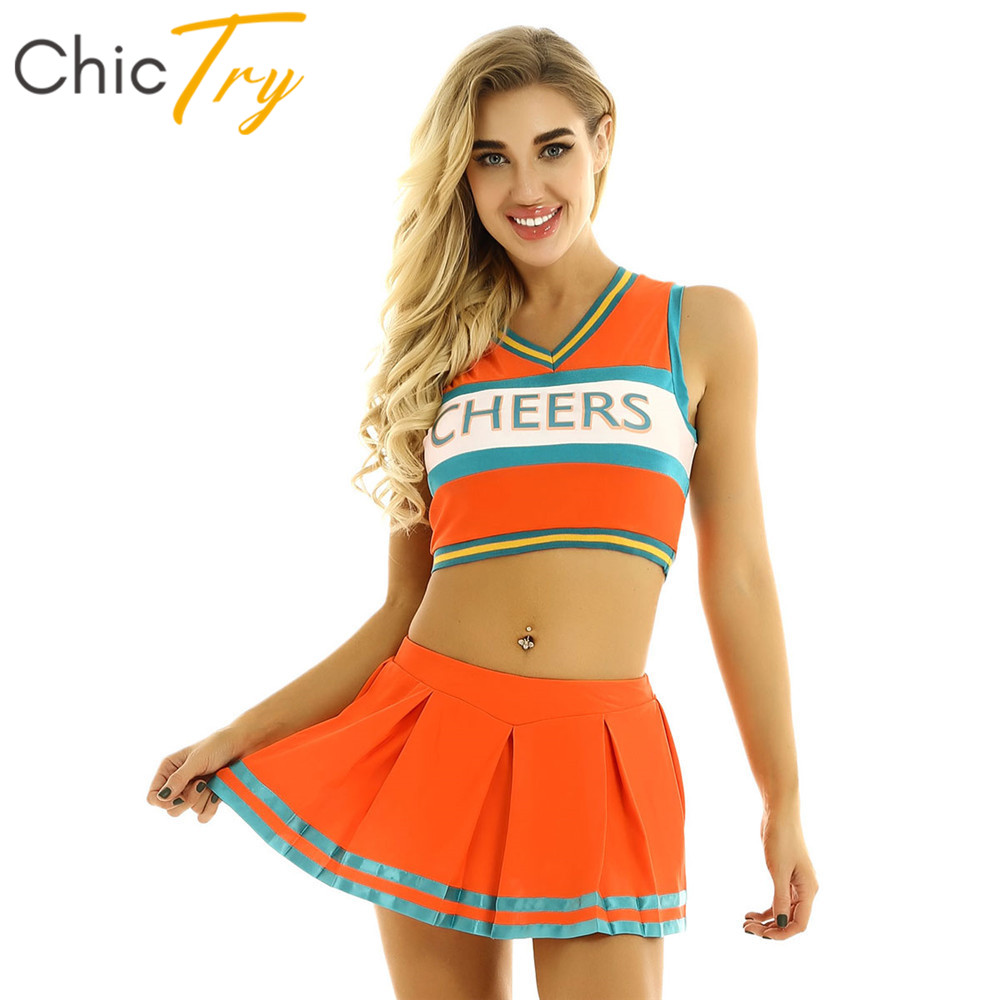 ChicTry Women Sleeveless Crop Tops With Mini Pleated Skirt Outfit Cheerleading Uniform Stage Performance Jazz Dance Costume