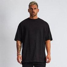 Camiseta de manga curta de ajuste oversized solta dos homens com ombro caído retro aptidão t camisa verão ginásio musculação topos t