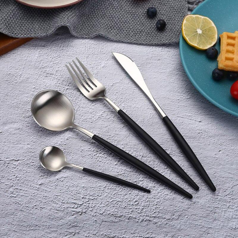 Горячая продажа Портативный черный серебристый цвет, набор столовых приборов 304 посуда из нержавеющей стали с черной ручкой для детей набор посуды для путешествий Столовые сервизы      АлиЭкспресс