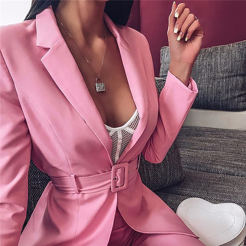 Women Pink Blazer Suit Office Fashion 2019 Ladies Blazer Jacket And Shorts With Belt 2 Piece Sets High Street Femme Outfits