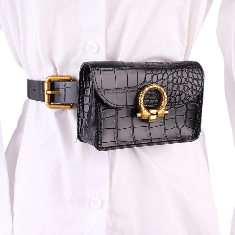 Chic Crocodile PU Mini Fanny Packs WOmen Multi-functional PLus Size Waist Belt With Bag Street Ladies Leather Money Waist Bag