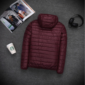 Image 2 - 2019 Autumn Mens Ultralight White Duck Down Hooded Jacket Male Windproof Waterproof Parkas Coats Ultra Light Stand Collar XCZ34