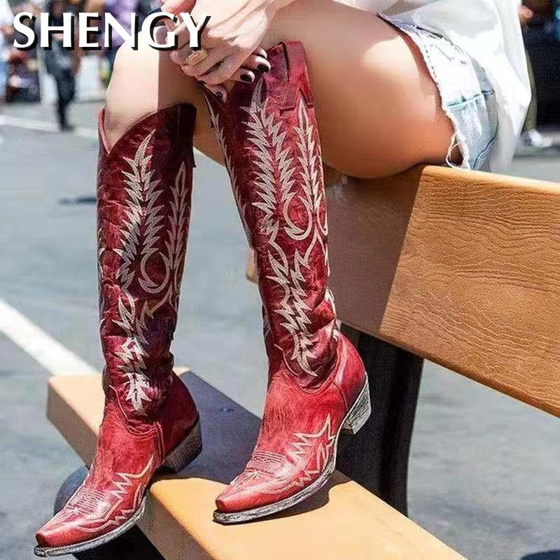 2020 Female High Heel Leather Shoes Knee-High Cowboy Boots Stylish Women Boots Autumn Vintage Long Tube Knight Boot