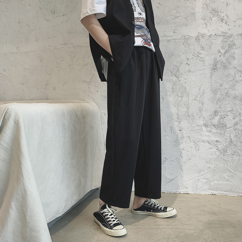 Summer Thin Drawstring Black Casual Pants Men's Fashion Business Dress Pants Men Streetwear Wild Loose Straight Trousers Mens