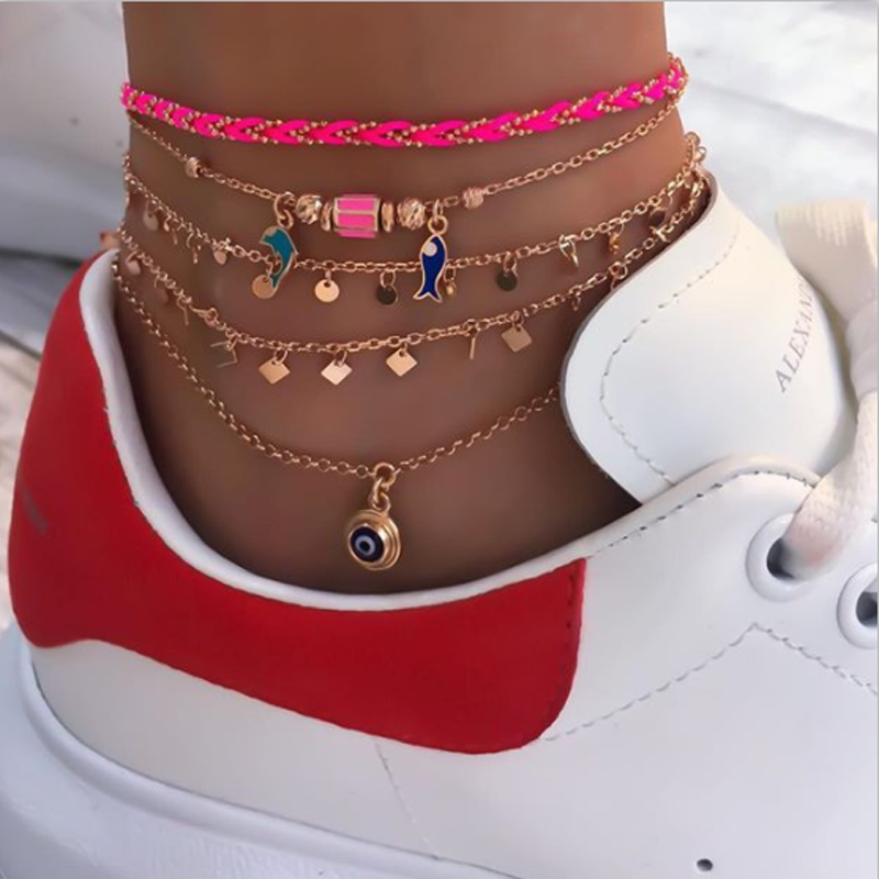 Tocona Cute Gold Chain Fish Eye Pendant Anklets Set for Women Multi-layer Braided Rope Ankle Chain Foot Jewelry 8759