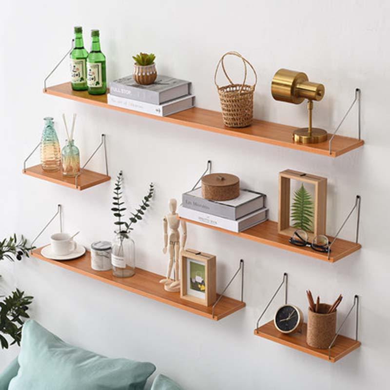 Nordic Wooden Wall Shelf Vintage Wood Wall Storage Shelf Free Punching Storage Room DIY Wall Decoration