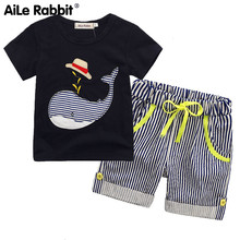 Summer Whale Short Sleeve Set Boy Navy Blue Top Stripe Pants 2 Piece Set Children's Clothes Are Cotton Comfortable(China)