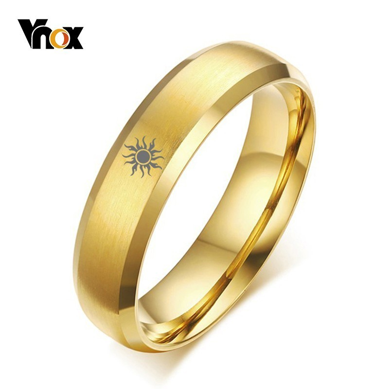 Vnox Free Personalized Ring for Women Men Gold Tone Stainless Steel Sun Legend of Zelda Ring Custom Unisex Casual Tail Ring Gift