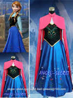 Schnee Königin Prinzessin Anna Maß Cosplay Kostüm Für Erwachsene Frauen Mit Mantel Krönung Kleid Halloween Kostüm