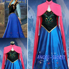 Snow Queen Princess Anna Made Cosplay Costume For Adult Womens With Cloak Coronation Dress Halloween Costume