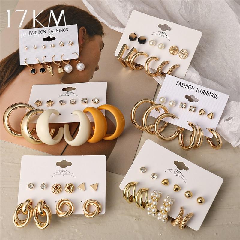 17KM Trendy Exquisite Pearl Metal Earrings Set For Women Geometric Circle Dangle Drop Earrings Acrylic Set of Earrings Jewelry