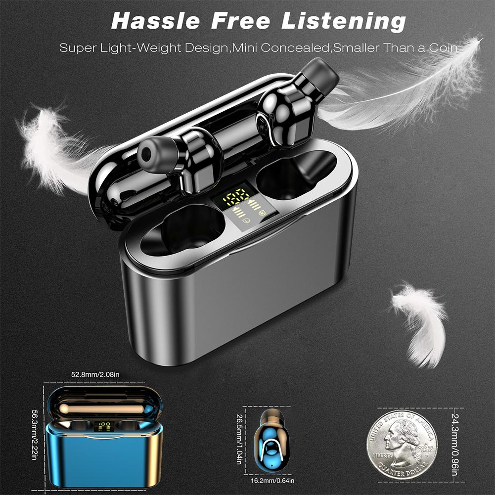 <font><b>M2</b></font> <font><b>TWS</b></font> Wireless Stereo Earphones Waterproof Mini Bluetooth Earbuds Sports In-Ear Headsets With LED Digital Display Charging Box image