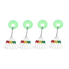 600 Pcs/100 Groups Fishing Bobber Stopper 6 In 1 Colorful Rubber Oval Float Space Bead Connector Gear For 1.5-3.0# Line