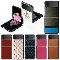 革パターン電話ケースz 3 5グラムカバー黒ハードpc Zflip3高級セグメントfundas