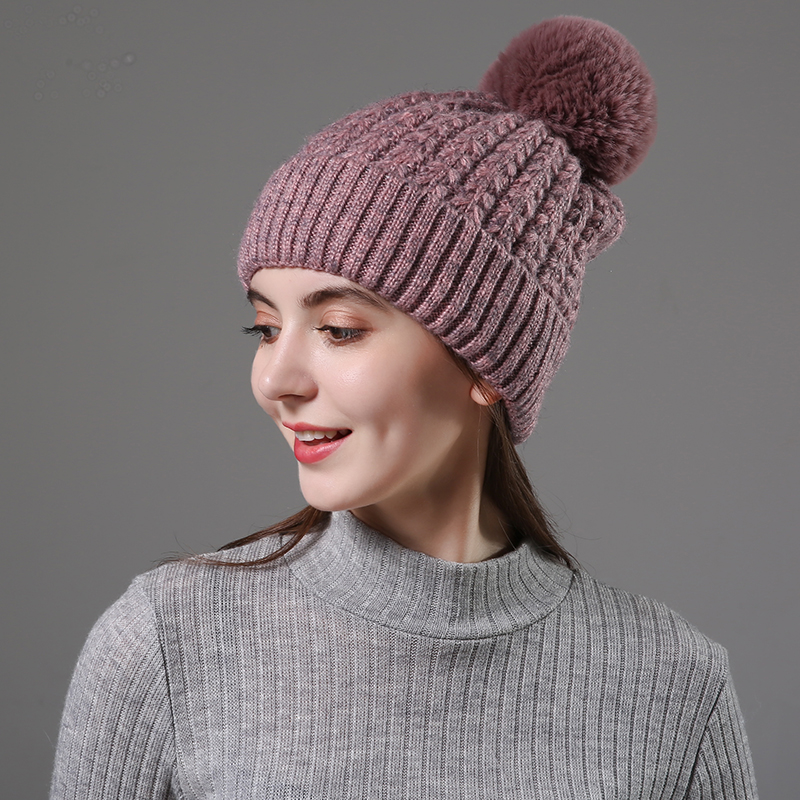 [Rancyword] 2019 New Women Girls Hat Keep Warm Winter Caps For Women Pompom  Knitted Hats Wool Fur Ball Hats High Quality RC2084