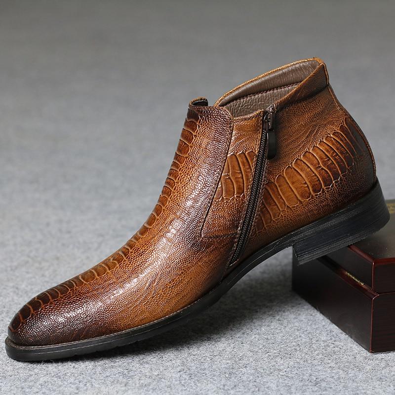 40-46 Men ankle Boots Comfortable Lather Snow Boots 2020 Non-Slip warm men's winter Dress shoes #DM5281C1 6