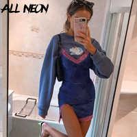 ALLNeon-vestidos de encaje con tirantes finos para niña, ropa de fiesta Floral con escote en V, dobladillo y espalda descubierta, Y2K