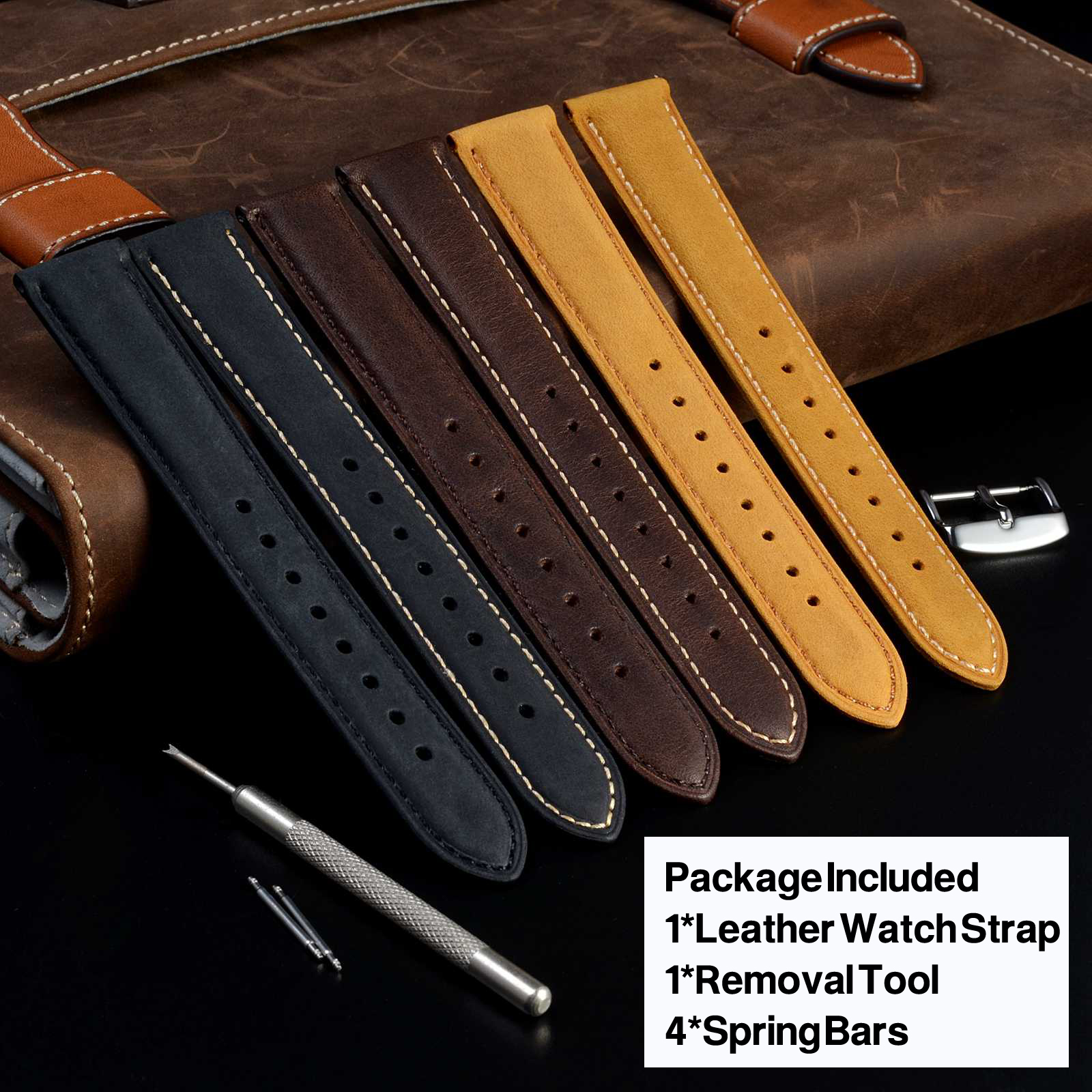 Image 3 - WOCCI 24mm Brown Genuine Leather Watch Strap 14mm 16mm 18mm 19mm 20mm 21mm 22mm Women Men Replacement Watch Bands Crazy Horse-in Watchbands from Watches